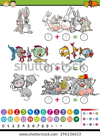 Cartoon Vector Illustration of Education Mathematical Game for Preschool Children with Animals - stock vector