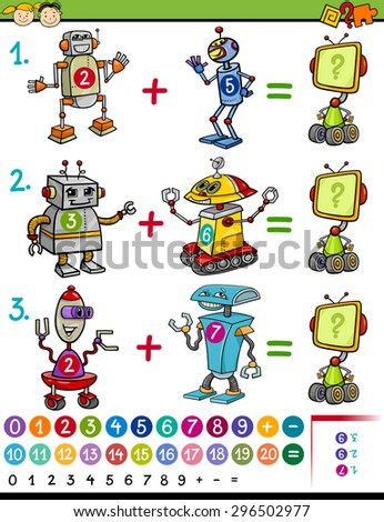 Cartoon Vector Illustration of Education Mathematical Game for Preschool Children with Animals with Funny Robots - stock vector