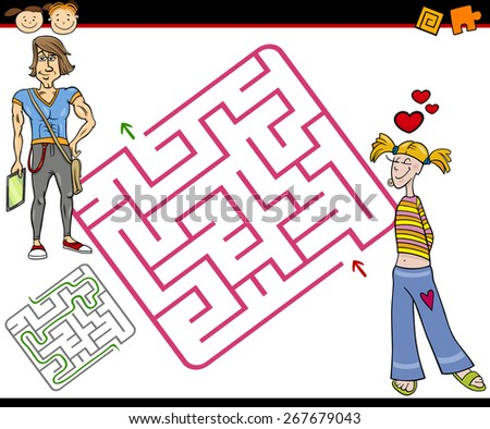 Cartoon Vector Illustration of Education Maze or Labyrinth Game for Preschool Children with Teenagers in Love - stock vector