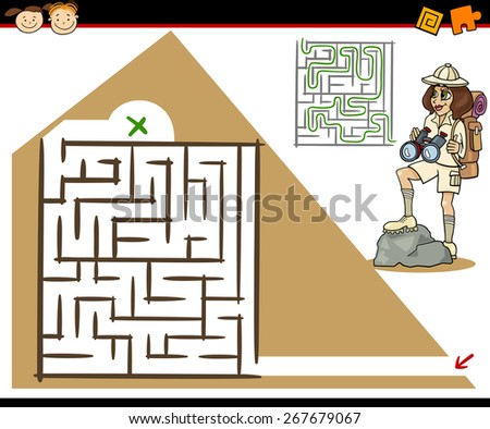 Cartoon Vector Illustration of Education Maze or Labyrinth Game for Preschool Children with Girl Traveler and Pyramid - stock vector