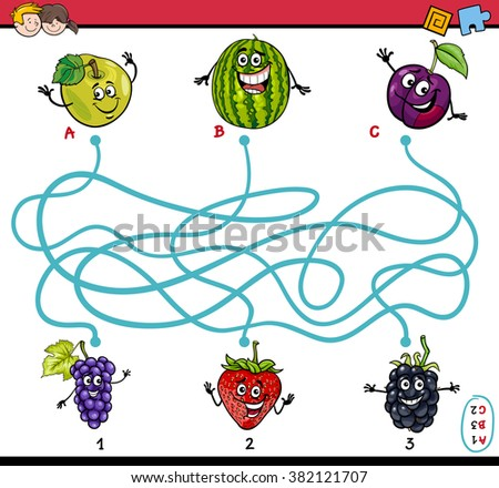 Cartoon Vector Illustration of Educational Paths or Maze Puzzle Task for Preschool Children with Fruits - stock vector