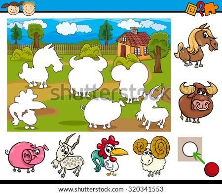 Cartoon Vector Illustration of Educational Task for Preschool Children with Farm Animal Characters - stock vector