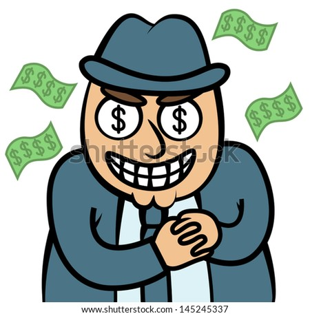 Cartoon vector illustration of evil money hungry man in suit, mafia, dealer, banker, loan shark, firm boss or politician - stock vector