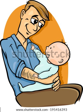 Cartoon Vector Illustration of Father with his Cute Baby - stock vector