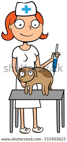 Cartoon vector illustration of female vet doctor or nurse with scared dog or puppy getting injection of vaccine, animal veterinary care - stock vector