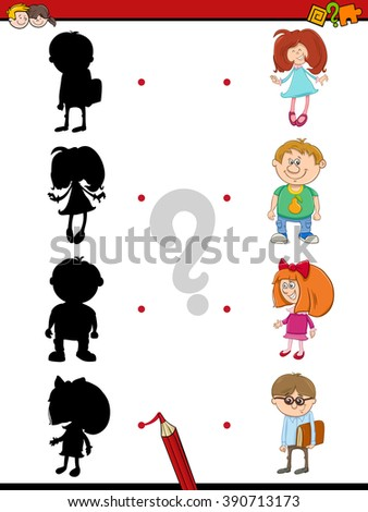 Cartoon Vector Illustration of Find the Shadow Educational Activity Task for Preschool Children with Kids - stock vector
