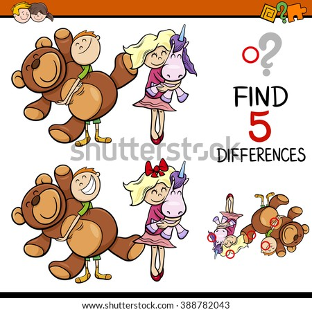 Cartoon Vector Illustration of Finding Differences Educational Activity for Preschool Children with Kids and Toys - stock vector