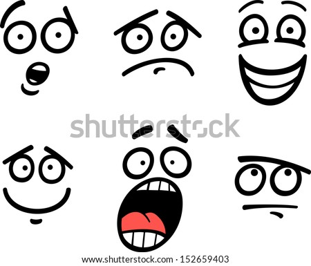 Cartoon Vector Illustration of Funny Emoticon or Emotions and Expressions like Sad, Happy, Fear or Skeptic - stock vector