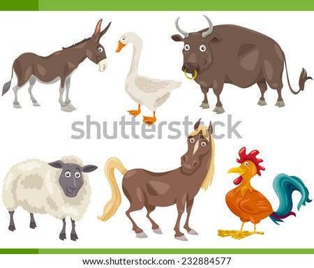 Cartoon Vector Illustration of Funny Farm Animals Set - stock vector