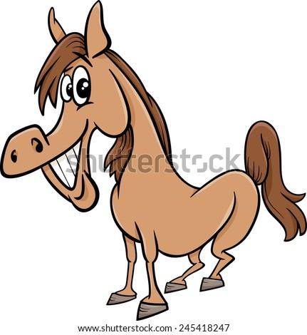 Cartoon Vector Illustration of Funny Horse Farm Animal - stock vector