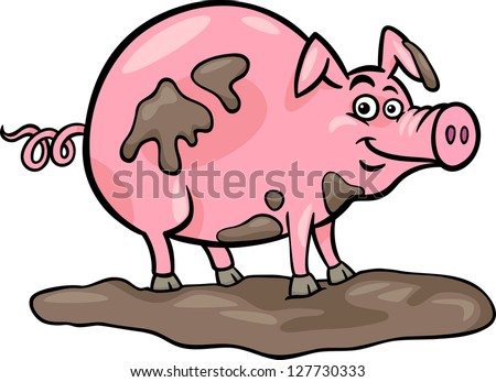 Cartoon Pig In Mud Puddle Cartoon vector illustration of