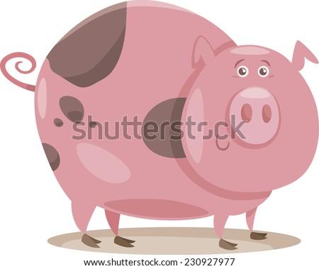 Cartoon Vector Illustration of Funny Pig Farm Animal in Mud - stock vector