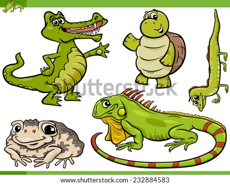 Cartoon Vector Illustration of Funny Reptiles and Amphibians Set - stock vector