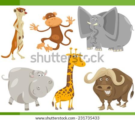 Cartoon Vector Illustration of Funny Wild Safari Animals Set - stock vector