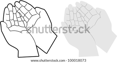 Cartoon vector illustration of hands cupped together - stock vector