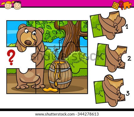Cartoon Vector Illustration of Jigsaw Puzzle Educational Task for Preschool Children with Bear Animal Character - stock vector