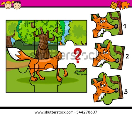 Cartoon Vector Illustration of Jigsaw Puzzle Educational Task for Preschool Children with Fox Animal Character - stock vector