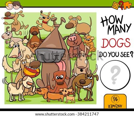 Cartoon Vector Illustration of Kindergarten Educational Counting Task for Preschool Children with Dog Characters - stock vector