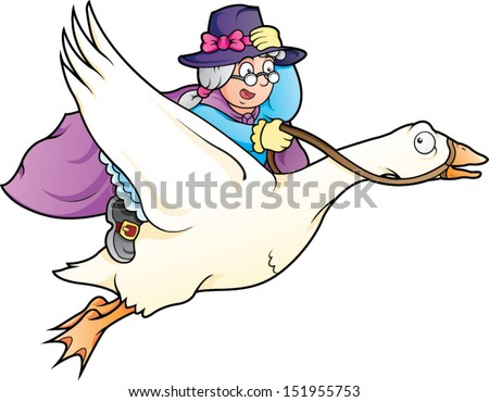 Cartoon vector illustration of Mother Goose - stock vector