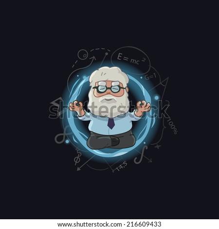 cartoon vector Illustration of scientist character - stock vector