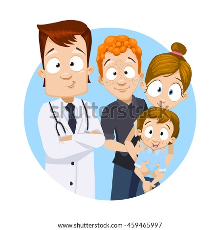 Cartoon vector illustration of smiling medical doctor and young family behind him - stock vector