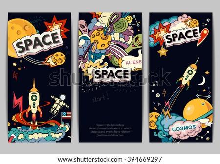 Cartoon vector illustration of space. Moon, planet, rocket, earth, cosmonaut, comet, universe. Classification, milky way. Hand drawn. Abstract - stock vector