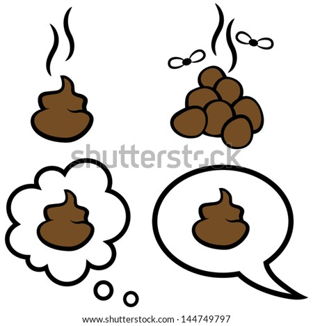 Cartoon vector illustration of speech and thought bubble with poop symbol - stock vector