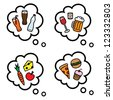Cartoon vector illustration of thought speech bubbles with healthy and unhealthy food and drinks - stock vector
