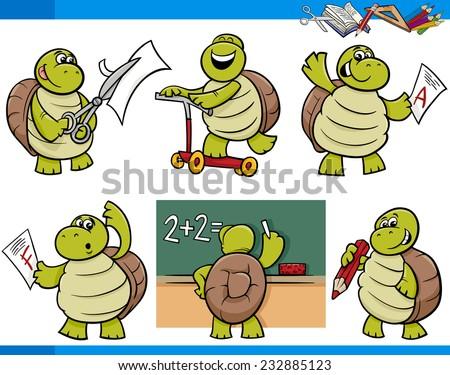 Cartoon Vector Illustration of Turtle Animal Character School Student Set - stock vector