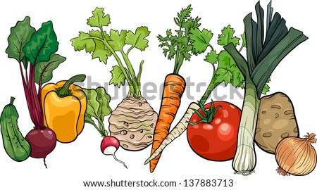 Cartoon Vector Illustration of Vegetables Food Object Big Group - stock vector