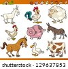 Cartoon Vector Illustration Set of Cheerful Farm and Livestock Animals isolated on White - stock vector