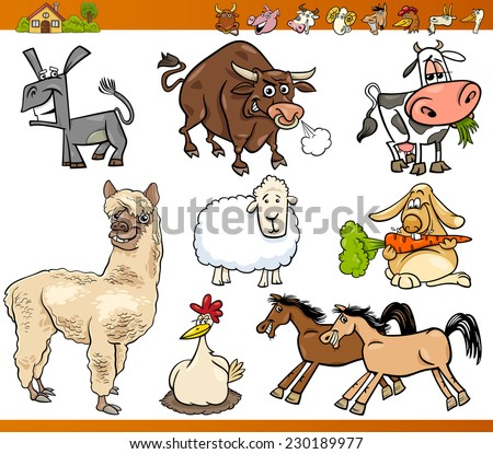Cartoon Vector Illustration Set of Funny Farm Animals Characters - stock vector