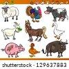 Cartoon Vector Illustration Set of Happy Farm and Livestock Animals isolated on White - stock vector