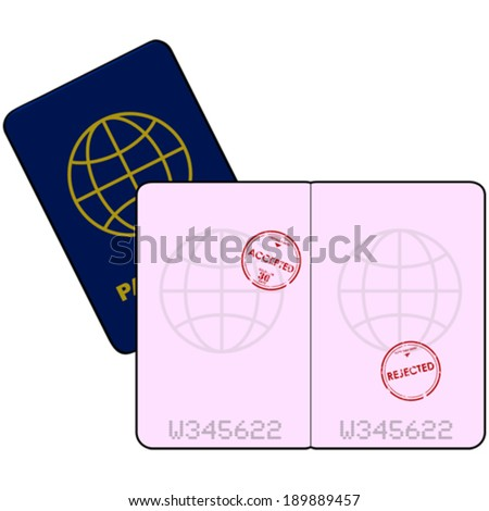 Cartoon vector illustration showing a passport with stamps for entry denied and accepted - stock vector