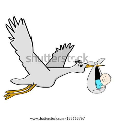 Cartoon vector illustration showing a stork carrying a sleeping baby.  - stock vector