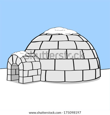 Cartoon vector illustration showing an igloo in the middle of nowhere with some snow on top of it - stock vector