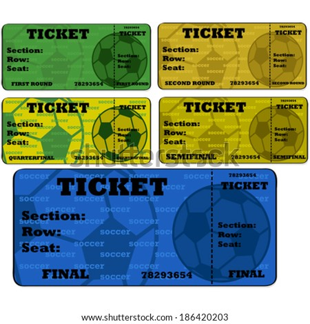 Cartoon vector illustration showing blank soccer (football) tickets in different colors - stock vector