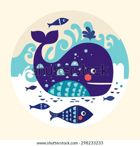 Cartoon vector illustration with whale and fish - stock vector