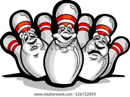 Cartoon Vector Image of a Happy Smiling Bowling Pins - stock vector
