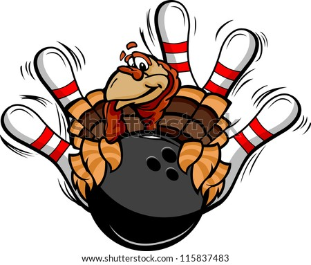 Cartoon Vector Image of a Thanksgiving Holiday Bowling Turkey Holding a Bowling Ball Surrounded by Bowling Pins - stock vector