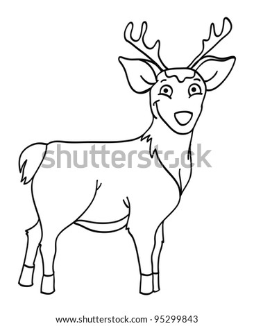 cartoon vector outline illustration of a deer buck - stock vector