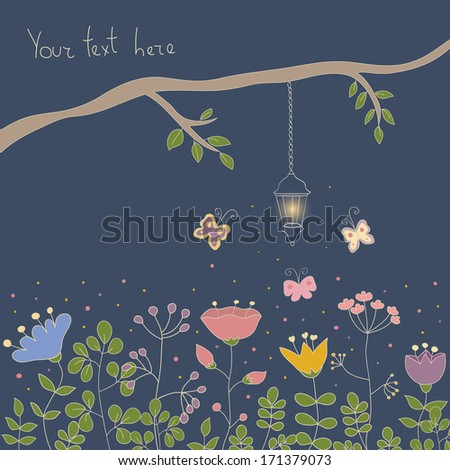 Cartoon vector postcard in dark tones. Summer illustration with flowers, butterfly and branch with sparkle lamp. Ideal for celebration card or poster. - stock vector