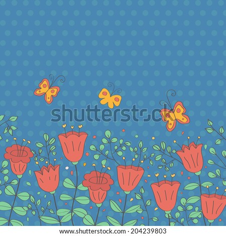 Cartoon vector postcard in dark tones. Summer illustration with flowers. Ideal for celebration card or poster - stock vector