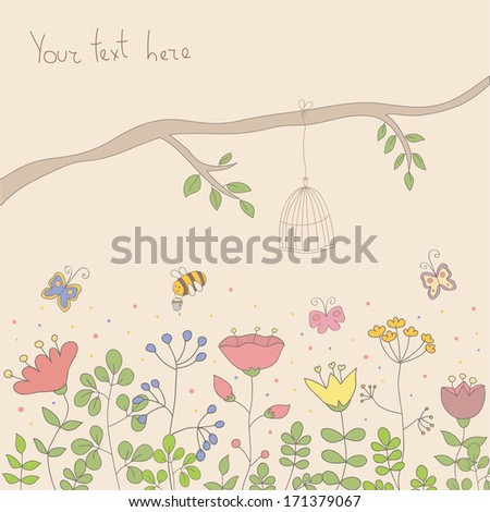 Cartoon vector postcard in light tones. Summer illustration with flowers, butterfly and branch with birdcage. Ideal for celebration card or poster. - stock vector