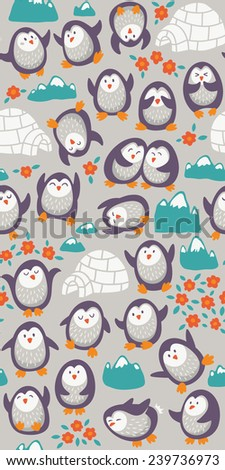 Cartoon vector seamless pattern with cute penguins. Funny background - stock vector