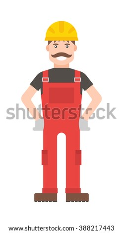 Cartoon vector worker character illustration. Smart worker cartoon character illustration. Cartoon worker professional man with a mustache in a yellow helmet and in a red suit. Cartoon worker. - stock vector