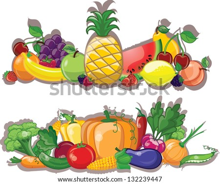 Cartoon vegetables and fruits, background - stock vector
