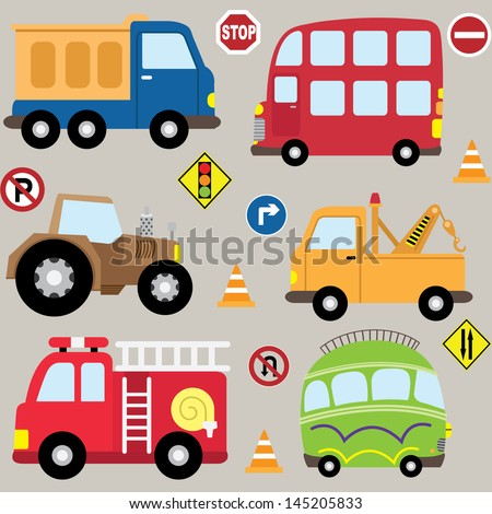 Cartoon  Vehicles, transport set - stock vector