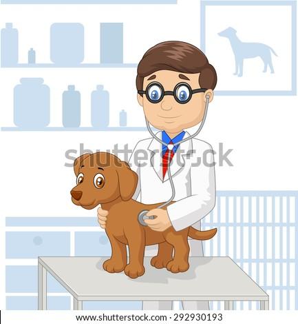 Cartoon veterinary examining dog - stock vector