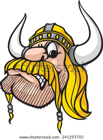 Cartoon Viking head. Vector file available. Viking Head - stock vector